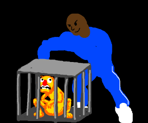 Blue jumpsuit man captured yellmo in cage