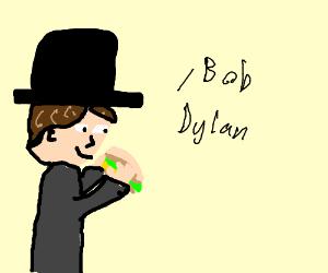 Bob Dylan eating a sandwich