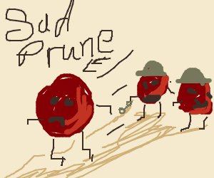 A sad prune running from the prune police