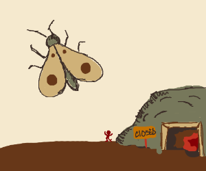 giant moth excapes from abanded mine