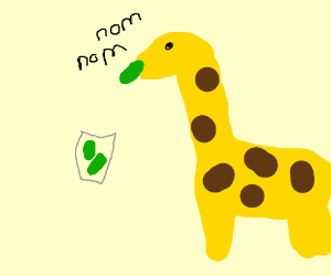 A giraffe eating pickles out of a floating jar