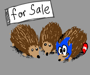 Three hedgehogs for sale 1 wearing sonic mask.