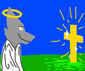 wolf jesus smiles at golden cross
