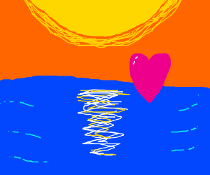 Heart floating over the sea at sunrise