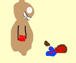 A teddy bear stabbed a girl with no limbs