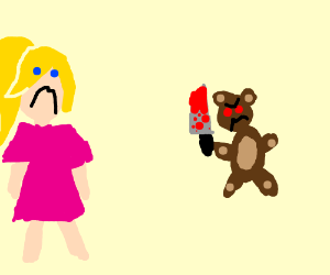 Blonde girl & teddy-bear holding knife