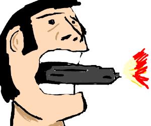A man eats his gun during use