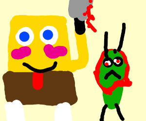 spongebob hurting plankton