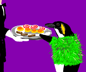 Penguin in grass skirt wants snacks