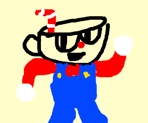 Cuphead or mugman's head on Mario's body