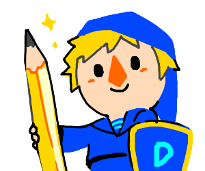 A drawception elf armed with pencil/shield