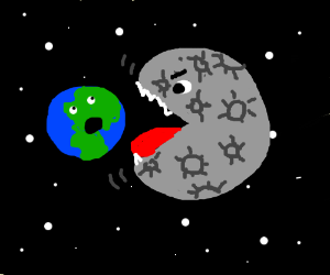earth being eaten by the moon