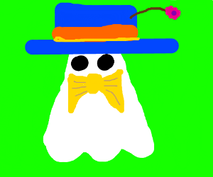 Ghost with blue hat and bowtie