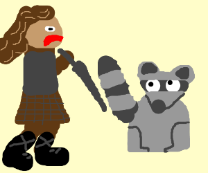 evil female warrior about to stab raccoon