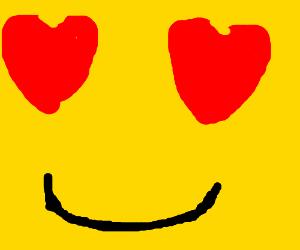 An emoji in love