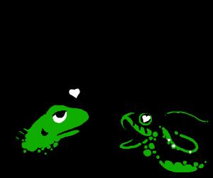 Lizard does a seduce on the snek