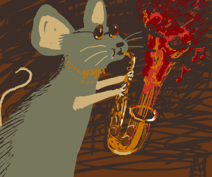 Suave rat jamming out on the saxophone