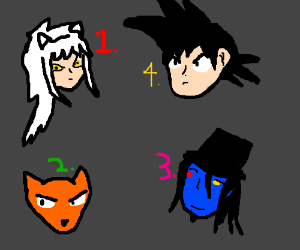 Three, no four anime characters
