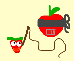 Blindfolded apple wth prison mouth & strawbery