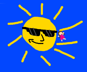 women jumping over sun rays