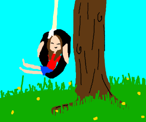 Playing on tire swing