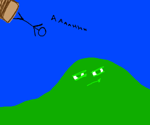 stick man falling from a box to hill w/ eyes?