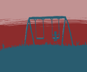 Lonely kid on a swingset