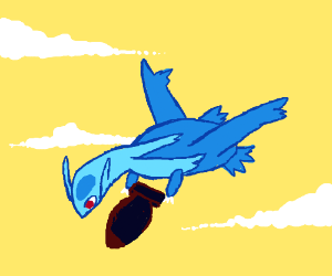 Latios holding a bomb in the air