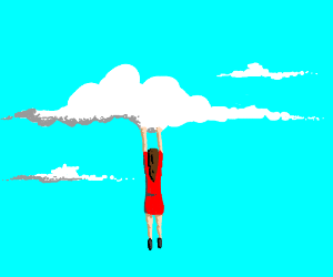 Person Hanging on to a Cloud