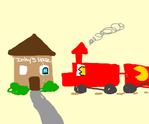 Inky house gets attacked by Pacman train