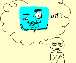 Thinking of a hairy, blue, angry, square WTF