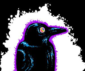 Big artsy raven  w/rainbow eyes