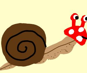 Brown Snail with mushroom head