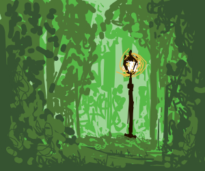 A lamp-post in the forest