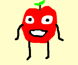 drawing an apple that is standing very still