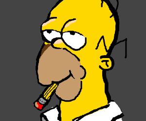 Homer simpson eating a pencil