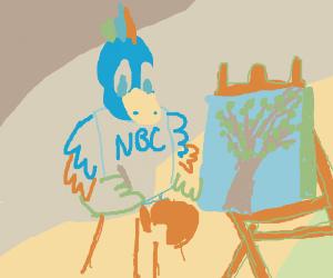 NBC Mascot paints Japanese tree