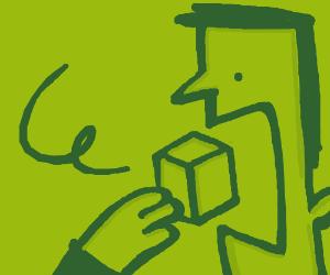 Man eats a box