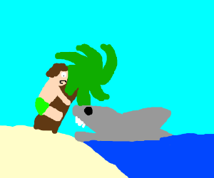 Man holds onto palmtree while a shark attacks