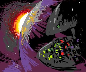 neon buildings in space