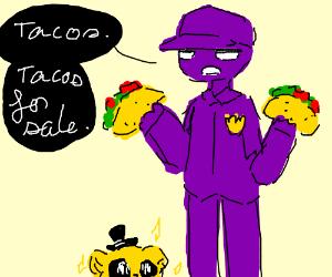 skinny man in purple selling tacos