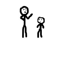 stickman talking to a midget stickman