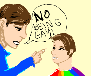 Man lectures his child to not be gay