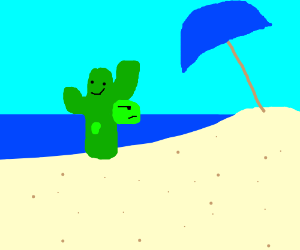 turtle fused with a cactus goes to the beach