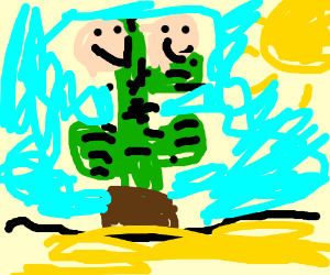 Happy cactus with two faces