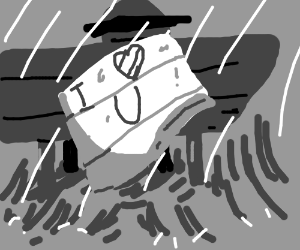 crinkled note crying that says i love u