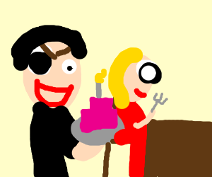 Creepy Waiter Serving Cake