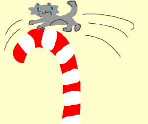 a cat jumped over the candy cane