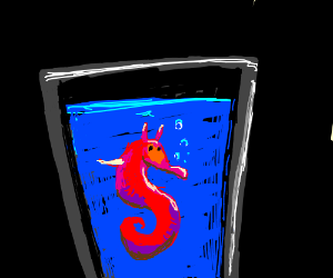 A seahorse in a glass