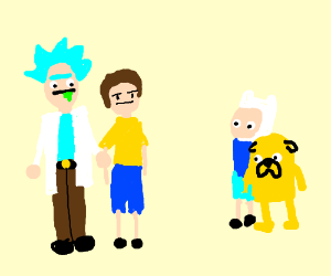 Rick and morty meet Finn and jake